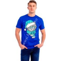 Мужская футболка Собака в голубом колпаке и шарфике