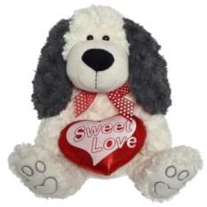 Мягкая игрушка Собака с сердцем (30 см)