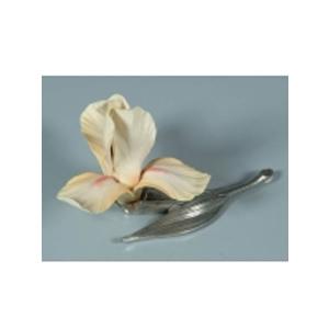 Цветок из фарфора Ирис желто-белый