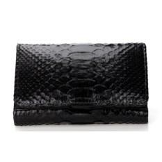 Черный кошелек из кожи питона