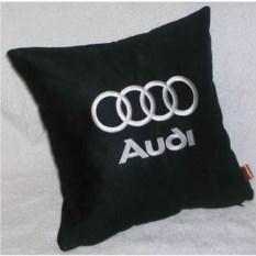 Черная подушка с белой вышивкой Audi