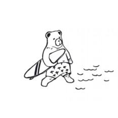 Открытка с конвертом Медведь-сёрфер