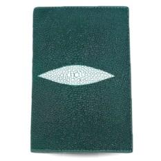 Зеленая обложка из кожи ската для паспорта и автодокументов