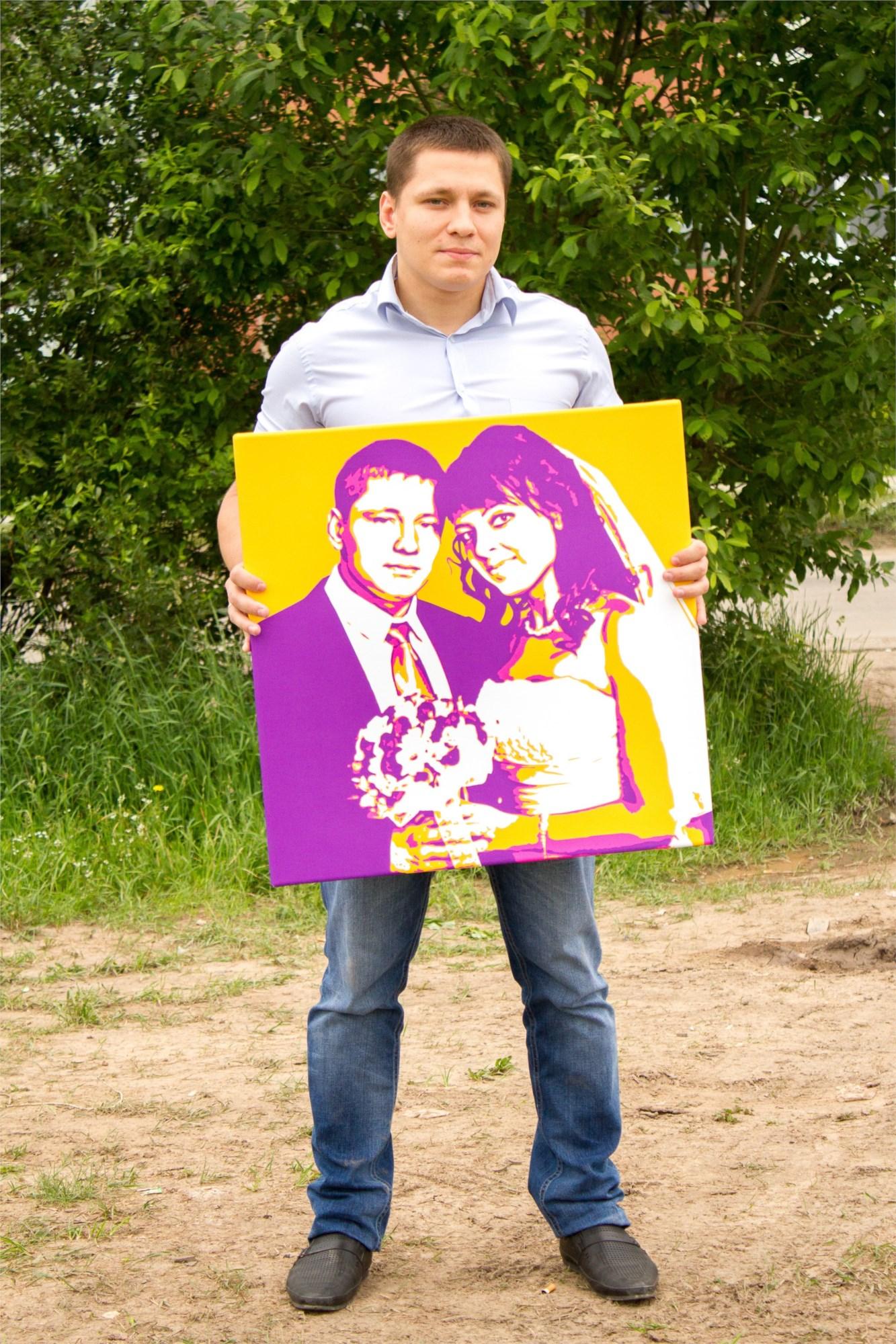 Поп-арт портрет по фото на холсте