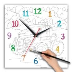 Часы-раскраска для мальчиков Спортивная тачка