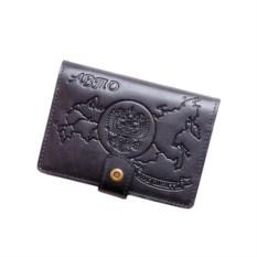 Темно-серое портмоне для документов из натуральной кожи