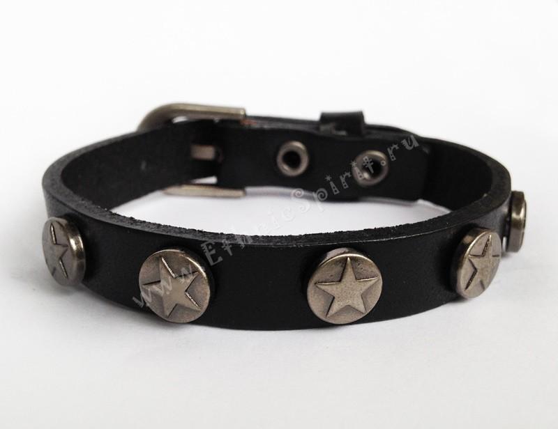 Кожаный браслет Хэнка Муди (Californication) с полосой звезд
