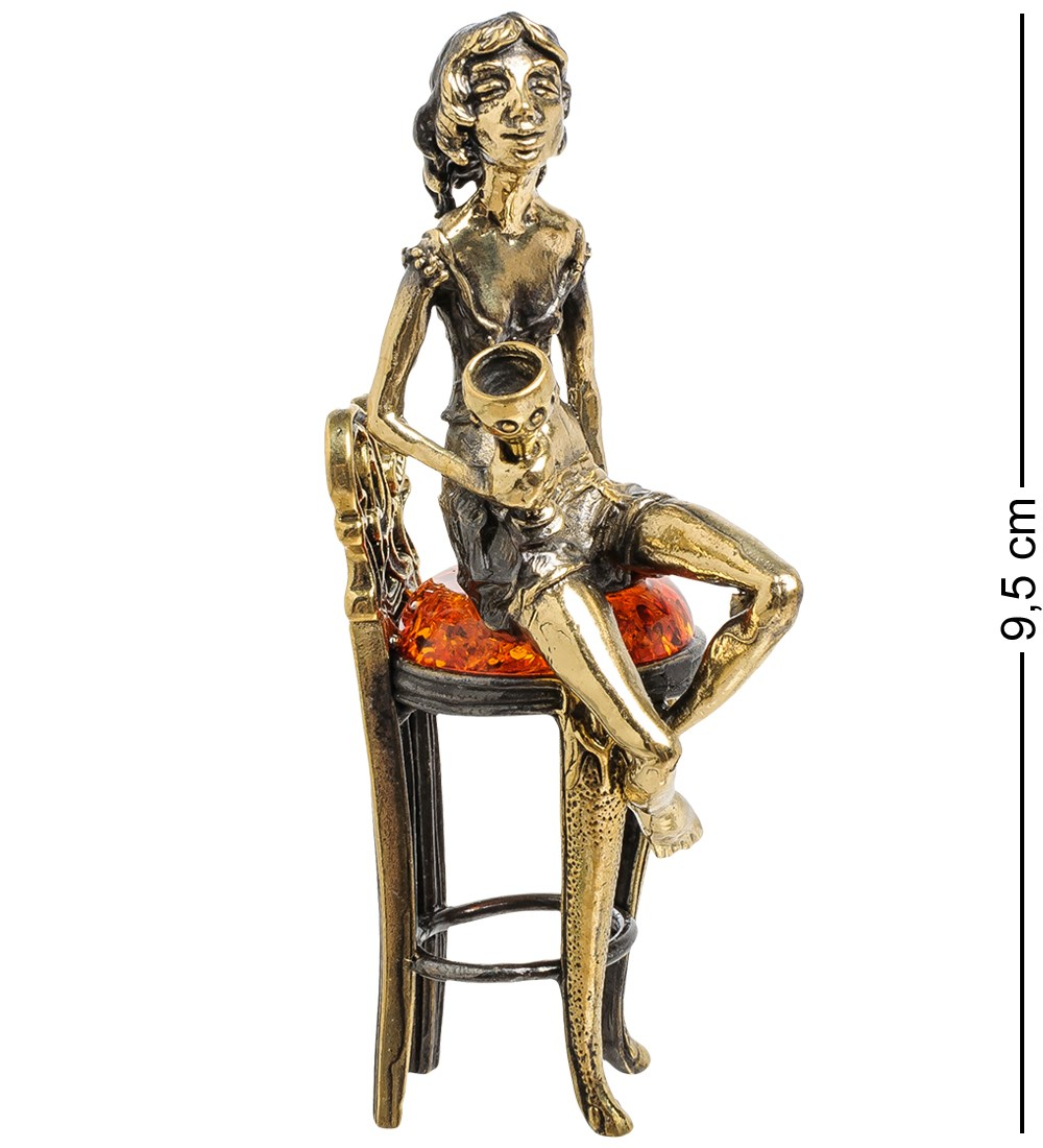 Фигурка Девушка-тоска (латунь, янтарь)