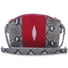 Женская сумка из ската и питона (цвет: красный, натуральный)