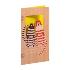 Открытка деревянная Два кота