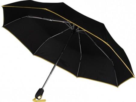 Черный автоматический зонт с желтой окантовкой