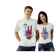 Парные футболки Чертик и ангел, зайцы