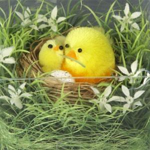 Птичка с птенцом в гнезде, желтая