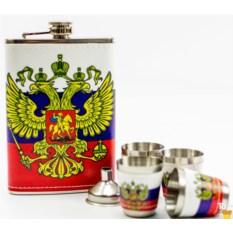 Набор стопки с флягой Флаг России