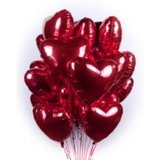 Букет из 100 шаров Фольгированные красные сердечки
