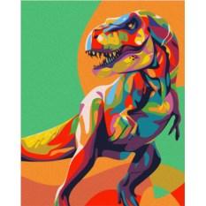 Картина по номерам «Радужный динозавр»