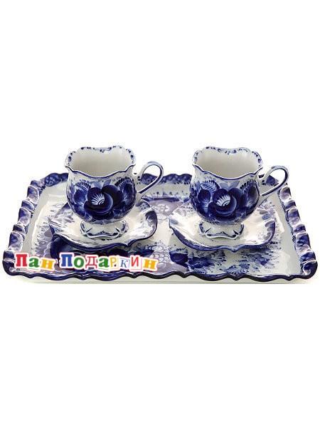 Кофейный набор с художественной росписью Гжель Для двоих