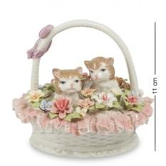 Фигурка Котята в цветочной корзине (Pavone)