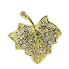 Флешка Лист кленовый в стразах, цвет – золото