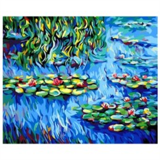 Картина-раскраска на холсте Кувшинки
