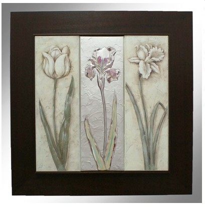 Декоративное панно в деревянной рамке Весенние цветы