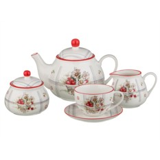 Красно-белый чайный сервиз на 6 персон из 15 предметов