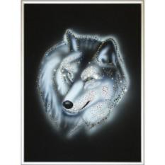 Картина с кристаллами Swarovski Серый волк