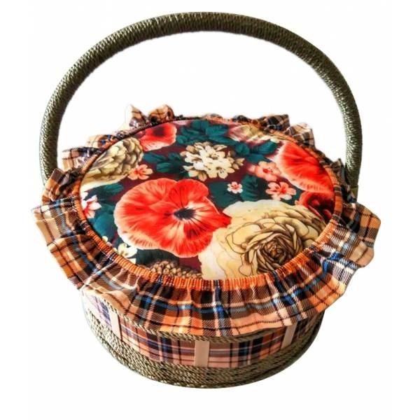 Круглая шкатулка для рукоделия Корзиночка с подносом