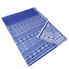 Синий плед Снежный узор (василек)