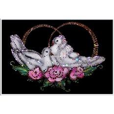 Картина с кристаллами Swarovski  Голубки
