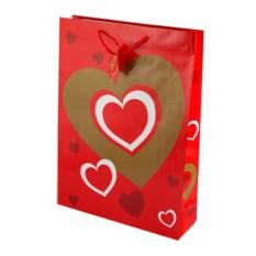 Бумажный ламинированный пакет Сердце