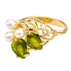 Позолоченное кольцо с жемчугом и нефритом