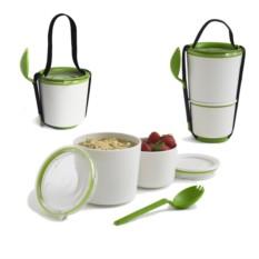 Бело-зеленый ланч-бокс Lunch Pot
