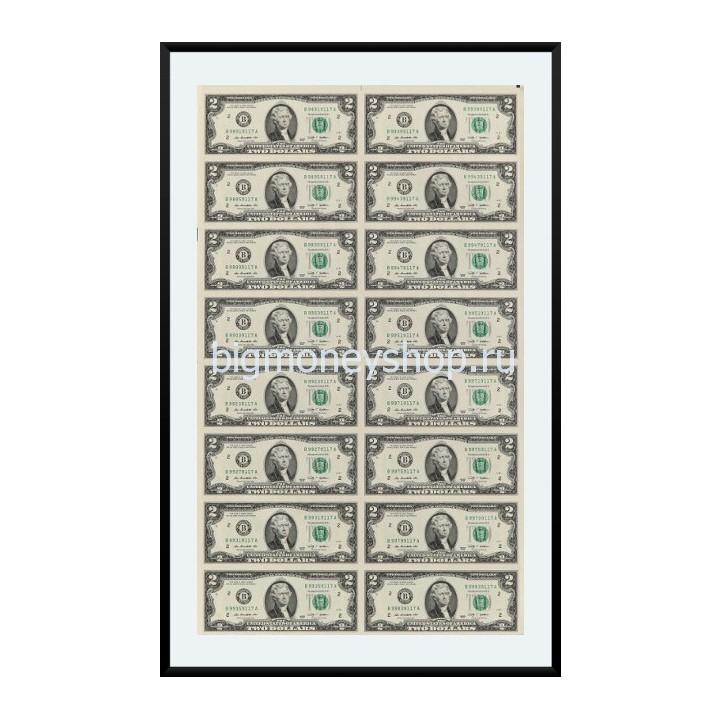 Коллекционный лист настоящих долларов - 16 купюр