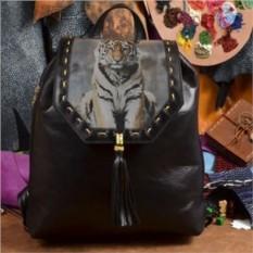 Женский кожаный рюкзак ручной работы Сидящий тигр