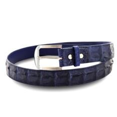Классический мужской ремень из кожи крокодила (темно-синий)