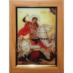 Малая икона с кристаллами Swarovski Георгий Победоносец