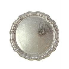 Никелированный латунный поднос для самовара Кольчугино