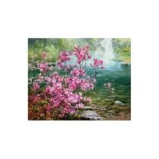 Картина-раскраска по номерам на холсте Багульник