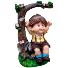 Декоративная садовая фигура Мальчик на качелях