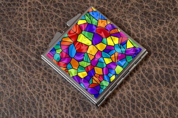 Карманное зеркальце Яркая мозаика (белый)