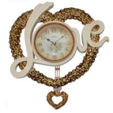 Настенные белые часы с золотистой рамкой в форме сердечка