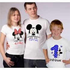 Семейные футболки Год как папа, мама, 1 годик мальчик