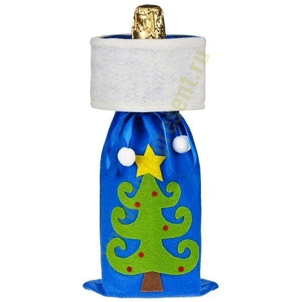 Синий мешок для шампанского «Елочка»