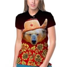 Женское поло Белый медведь в шапке