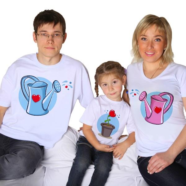 Футболки для семьи Лейка, леечка, цветочек