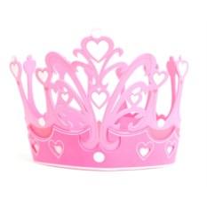 Детская розовая корона с сердечками