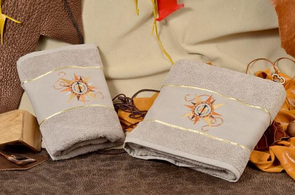 Набор махровых полотенец (бежевый; махра, хлопок)