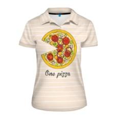 Женская рубашка поло One love, one pizza
