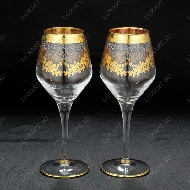 Свадебные бокалы для вина с золотом Cristal Robert Line